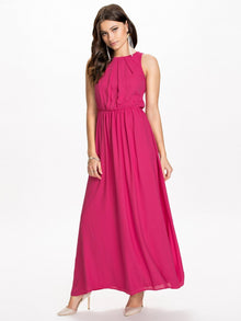 Women's Beach Hot Chiffon Plus Size O-Neck Backless Sexy Maxi Long Summer Dress