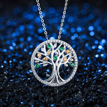 Tree Of Life 925 Sterling Silver Long Necklace for Women Vintage Gemstone Pendant Necklace