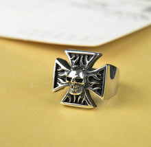 Fashion Rock Big Black Ring Skull Iron Cross Ring For Gothic Punk Men