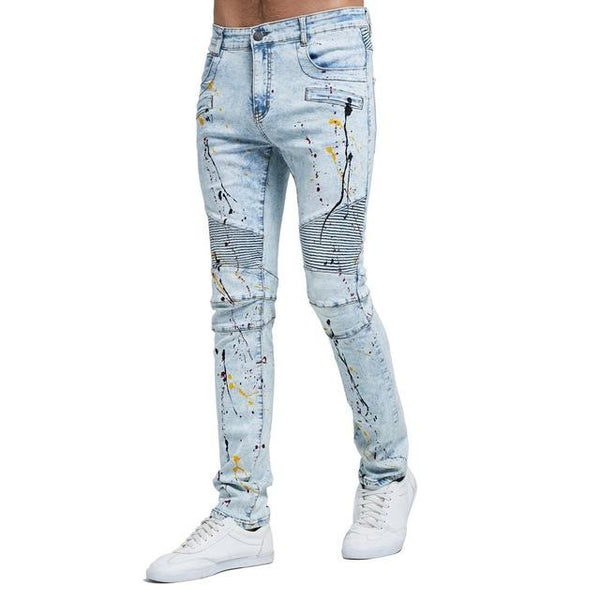 2018 Men Fashion Biker Jeans New Design Strech Light Blue Skinny Jeans