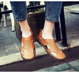 Cow Split Leather Men Sandals waterproof Summer Flats Shoes Korean Version Breathable Sandals