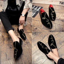 Crystal handmade men loafers fashion Slip-On leather suede slippers male shoes boat shoes men's flats