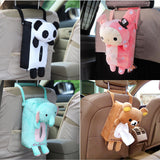 4 Colors Cute Animal Car Tissue Holder for Car Back Hanging Tissue Box Covers - Paper Towel Holder