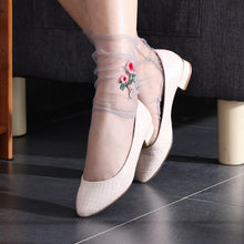 Women Ultrathin Sheer Embroider Rose Flowers Fishnet Socks Mesh Summer Hosiery Sock