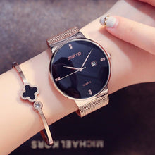 Luxury Fashion Ladies Watches Rose Gold Casual Black Female Waterproof Clock