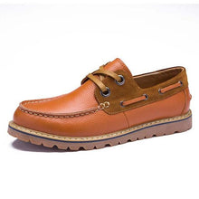 Men boat shoes genuine leather shoes business shoes man brown handmade leather casual shoes