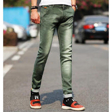 men's light color stretch jeans casual straight Slim fit skinny cotton denim trousers
