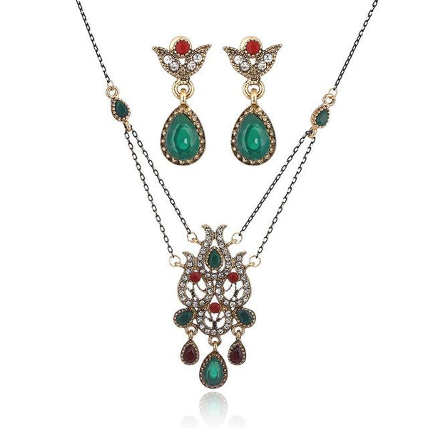 African Beads Jewelry Set Retro Fashion Zircon Crystal Necklace Earrings Jewelry Set