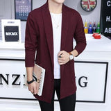 2018 Men fall in long fashion knitting cardigan sweater slim windbreaker business high-quality cotton Leisure jacket