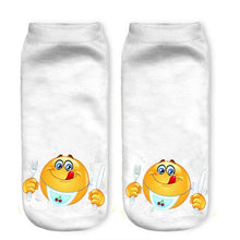 3D Emoji Soft Breathable Stretchy Socks Women Happy Funny Ankle High Invisible Sock