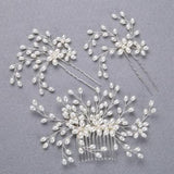 3pcs New fashion pearl bride headdress hair jewelry Silver Handmade combs