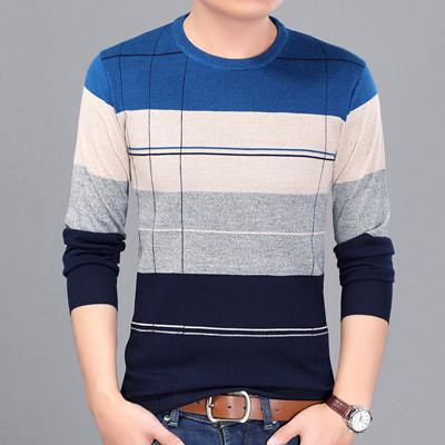 2018 New Autumn Fashion Casual Mens Sweater O-neck Slim Fit Knitting Sweaters Plus Size