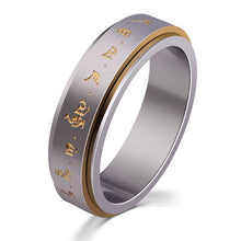 Fashion Men Buddha Rotation Spinning Mantra Letter Ring Titanium Steel Fine Jewelry