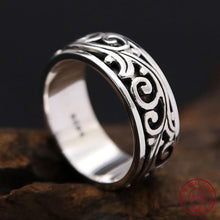 Men Ring Fine Jewelry 100% Real 925 Sterling Silver Flower Rotatable