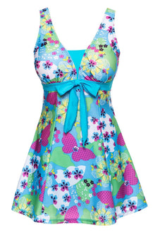 Women's Cut Slim Butterfly  One-Piece Push Up Swimsuit Dress Swimwear