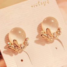 New Korea Style Fashion Rhinestone Female Gold Plate Butterfly Opal Stud Earrings