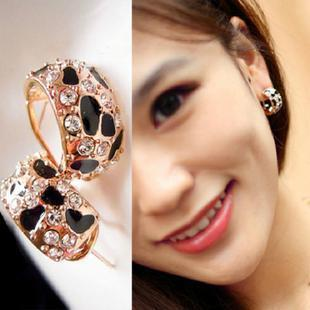 Exquisite Beautiful Shiny Rhinestone Crystal Leopard Stud Earrings for Women Jewelry