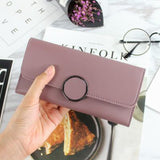 2018 Fashion Long Wallets Women Solid Pink Card Holder Wallet