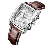 Quartz Men Watch Genuine Leather Watches Men Chronograph Watch Male