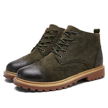 Men's boots Brogue style ankle boot lace up winter plush casual shoes men boot