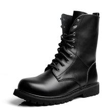 Men's black boots autumn winter lace-up mid-calf riding shoes men leather shoes big size