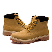 Men's Yellow boots leisure nubuck leather ankle boot lace up winter autumn casual shoes men boots