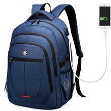 External USB Charge Computer Bag Polyester Notebook Backpack Men