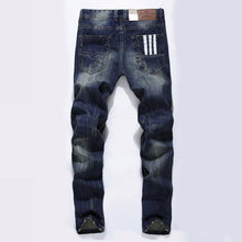 Fashion Designer Jeans Men Straight Dark Blue Color Printed Mens Jeans Ripped Jeans
