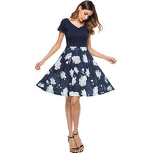 Fashion Floral Print Short Mini Elegant Sexy V-neck A-line Open Back Dress