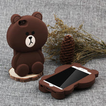 Cute Bear 3D Rubber Phone Cases for iphone X Soft Silicon Cartoon Cover for iPhone/Plus