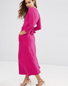 Elegant Women Cocktail Party Sexy V-neck 3/4 Sleeve Belted Mid-Calf Length Solid Maxi Long Dress