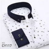 2018 Retro Floral Printed Man Casual Shirts Fashion Classic Men Dress Shirt