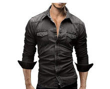 Men Long Sleeve Shirts Casual Solid Color Denim Slim Fit Dress Shirts
