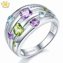 925 Sterling Silver Ring Colorful Gemstones Fine Fashion Jewelry