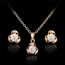 Women Jewelry Set Gold Color Austrian Crystal flower Jewelry Sets for bridal