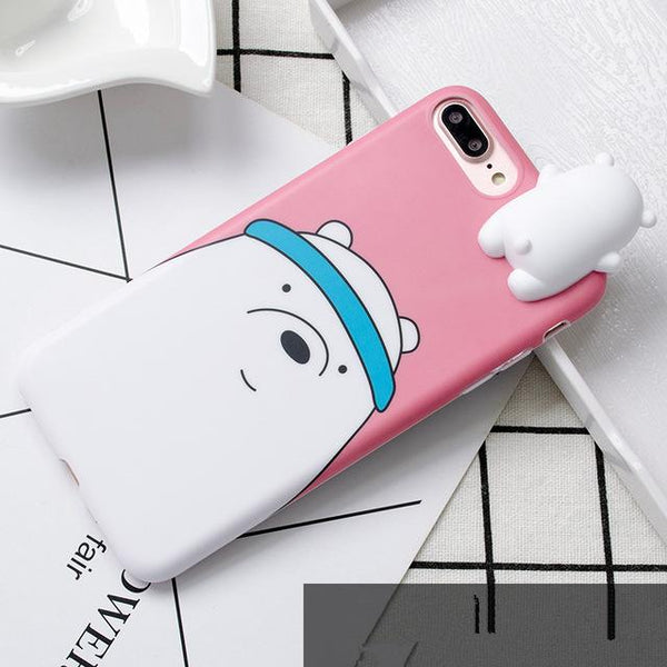 3D Cute Cartoon We Bare Bears brothers funny toys soft phone case