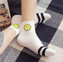 New Fashion Simple Smiley Face Socks Stripe Pure Cotton Stink Prevention Hosiery