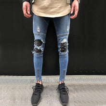 Punk Style Distressed Men's Jeans Slim Denim Straight Skinny Jeans Ripped Zipper Streetwear
