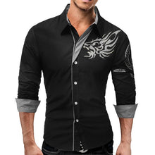 New Men's Long-Sleeved Dress Shirt Dragons Casual Slim Lapel Quality Large Shirt