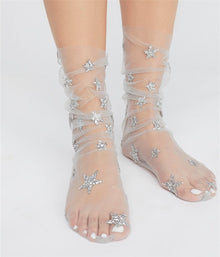 Women's Glitter Stars Socks Transparent Mesh Gold Sliver Shiny Stars Fishnet Socks Hosiery