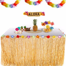 Colorful Flowers Artificial Grass Table Skirt Hawaiian Party Decoration Luau