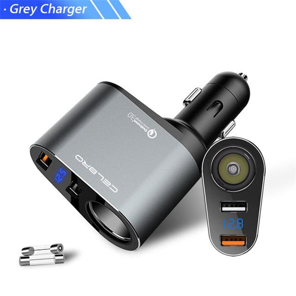 Car Charger 3.0 Qc3.0 Dual Usb Auto Adapter Digital Led Display Fast Charging