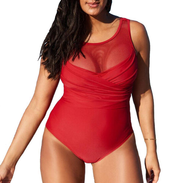 2018 New Plus Size One Piece Swimwear Criss Cross Ruched Mesh Swimsuit