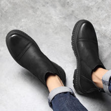 Men's Chelsea Boots fashion black high-top slip-on ankle boots casual leather shoes for male comfortable