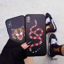 Fashion Tiger Snake Soft silicon cover case for iphone Black Animal Cat phone cases fundas capa