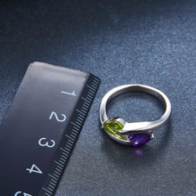 Hutang Stone Jewelry Genuine Peridot & Amethyst Solid 925 Sterling Silver Ring