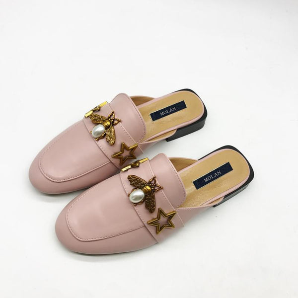 2018 Fashion Metal Pearl Bee Superstar Leather Flat Slippers Woman Round Toe With Belt Loafers Mules Flip Flops