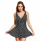 Deep V One Piece Swimsuit Dot Printed Skirted Swimdress Swimwear