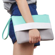 Candy Color Leather Women Bag Day Clutches Handbag Ladies Casual Patchwork Wristlet Clutch