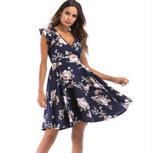 Lace up Backless Spaghetti Strap Print A-line Dress Butterfly Sleeve Party Summer Dresses
